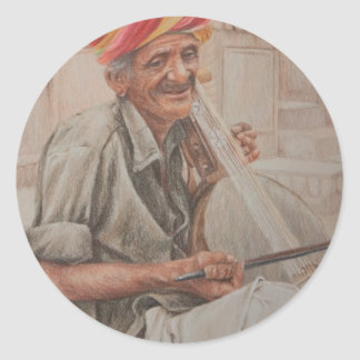 Kamaycha Player, Jaisalmer Classic Round Sticker