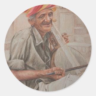 Kamaycha Player, Jaisalmer Classic Round Sticker