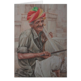Kamaycha Player, Jaisalmer Greeting Card