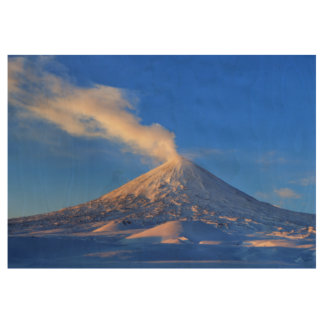 Kamchatka active Klyuchevskaya Sopka at sunrise Wood Poster