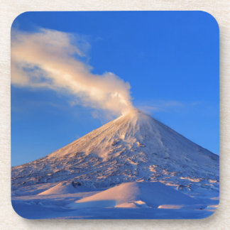 Kamchatka active Klyuchevskoy Volcano at sunrise Beverage Coaster