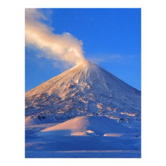 Kamchatka active Klyuchevskoy Volcano at sunrise Letterhead