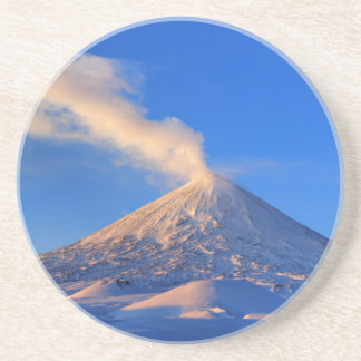 Kamchatka active Klyuchevskoy Volcano at sunrise Sandstone Coaster