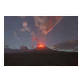 Kamchatka: nighttime eruption Klyuchevskoy Volcano Wood Wall Art