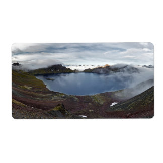 Kamchatka panoramic view of crater lake of volcano label