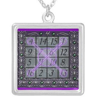 kamea jupiter square silver plated necklace