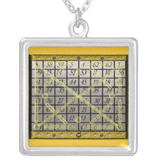 kamea mercury square silver plated necklace