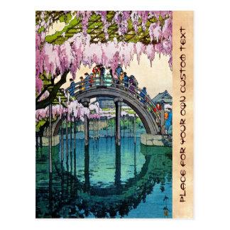 Kameido Bridge by Hiroshi Yoshida shin hanga Postcard