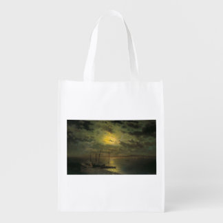 Kamenev's Moonlit Night On The River Grocery Bag
