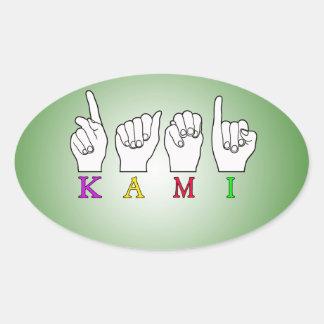 KAMI ASL FINGERSPELLED SIGN NAME OVAL STICKER
