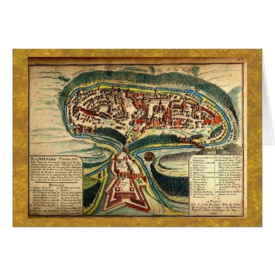 Kamianets Podilskyi Map 1691 Card