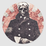 Kamikaze del cráneo etiquetas redondas