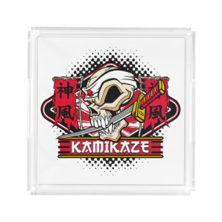 Kamikaze Skull With Japanese Katana Sword Square Serving Trays