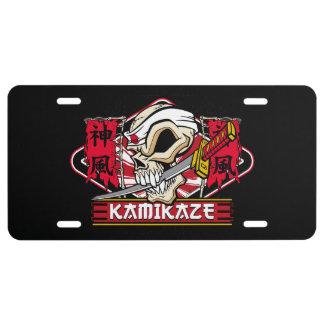 Kamikaze Skull With Japanese Katana Sword License Plate