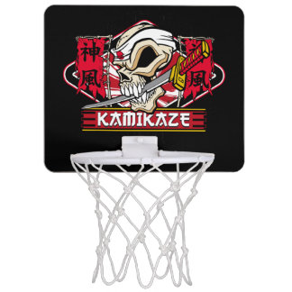 Kamikaze Skull With Japanese Katana Sword Mini Basketball Hoops