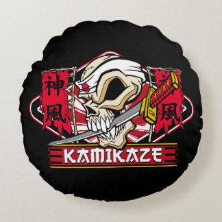 Kamikaze Skull With Japanese Katana Sword Round Pillow