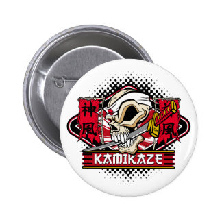 Kamikaze Skull With Japanese Sword Button