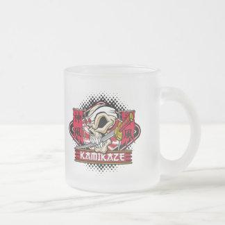 Kamikaze Skull With Japanese Sword Frosted Glass Coffee Mug