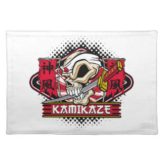 Kamikaze Skull With Japanese Sword Cloth Placemat