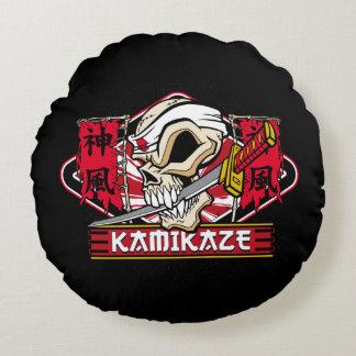 Kamikaze Skull With Japanese Sword Round Pillow