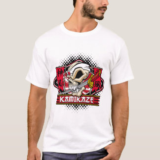 Kamikaze Skull With Japanese Sword T-Shirt