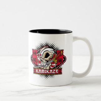 Kamikaze Skull With Japanese Sword Two-Tone Coffee Mug