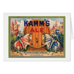 Kamm's Ale Vintage Label Card