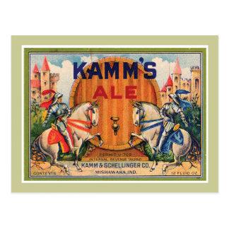 Kamm's Ale Vintage Label Postcard
