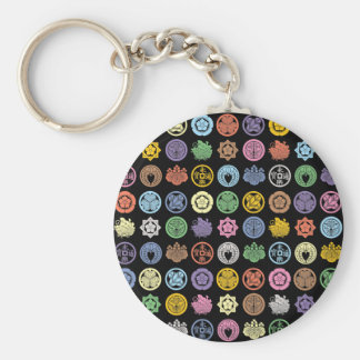 Kamon pattern 1 basic round button keychain