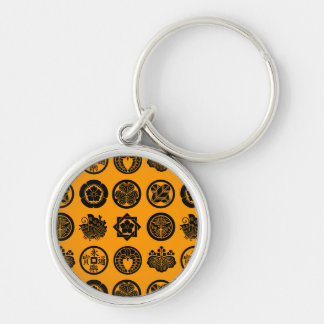 kamon pattern Silver-Colored round keychain
