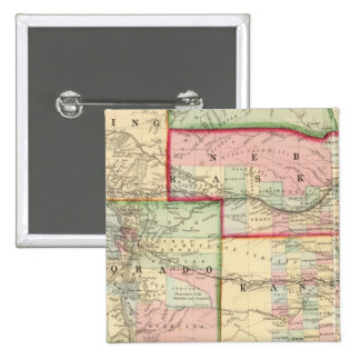 Kan, Neb, Colo Map by Mitchell 2 Inch Square Button