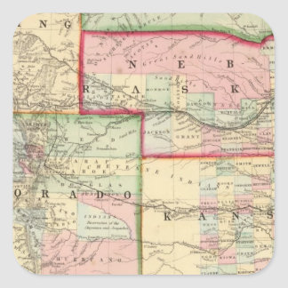 Kan, Neb, Colo Map by Mitchell Square Sticker