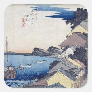 Kanagawa: View of the Ridge Square Sticker