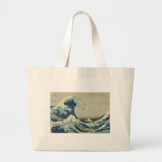 Kanagawa Wave by Katsushika Hokusai Tote Bags