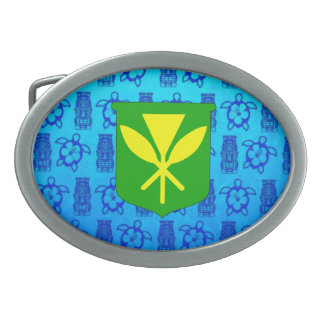 Kanaka Maoli Blue Tiki Oval Belt Buckles