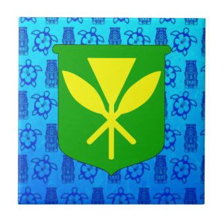 Kanaka Maoli Blue Tiki Ceramic Tile
