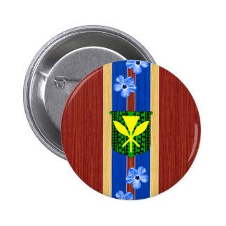 Kanaka Maoli Fake Wood Surfboard Pinback Button