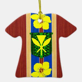 Kanaka Maoli Fake Wood Surfboard Christmas Tree Ornament