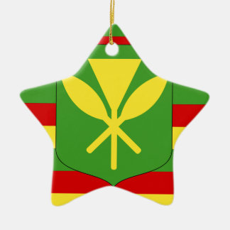 Kanaka Maoli Flag - Hawaiian Independence Flag Ceramic Ornament