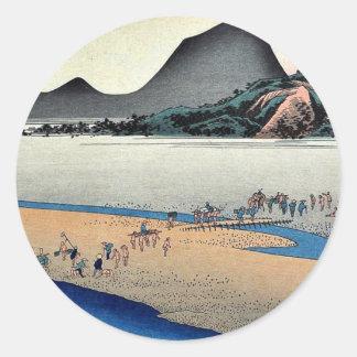 Kanaya por Ando, Hiroshige Ukiyoe Pegatina Redonda