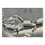 Kanbara por Ando, Hiroshige Ukiyoe Felicitaciones