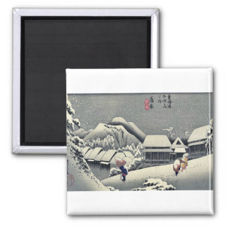 Kanbara por Ando, Hiroshige Ukiyoe Imán Cuadrado
