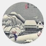 Kanbara por Ando, Hiroshige Ukiyoe Pegatina Redonda