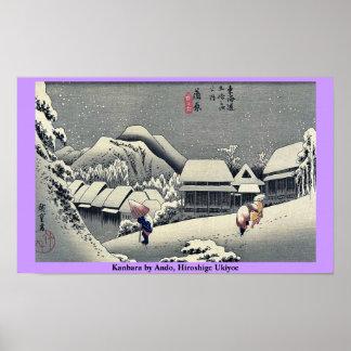 Kanbara por Ando, Hiroshige Ukiyoe Póster