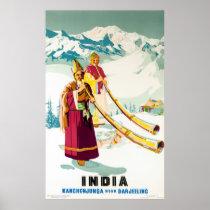 Kanchenjunga India Vintage Travel Poster Restored