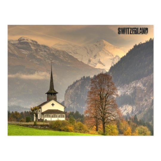 Kandergrund Switzerland Church Snowy Swiss Alps Postcard