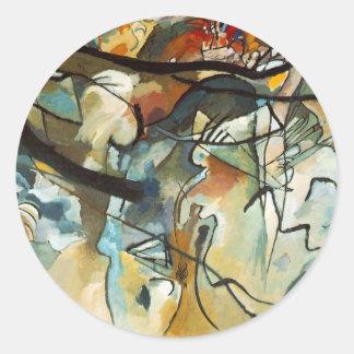 kandinsky abract art classic round sticker