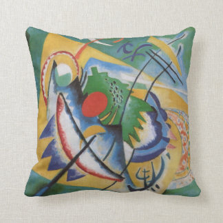 Kandinsky Abstract 'Oval Red' Green Yellow Throw Pillow