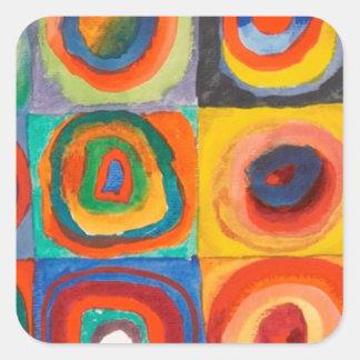 Kandinsky ajusta círculos concéntricos pegatina cuadrada