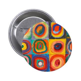 Kandinsky ajusta círculos concéntricos pin redondo de 2 pulgadas